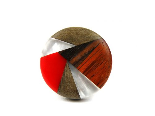 Ring Harz Perlmutt und Holz Rot