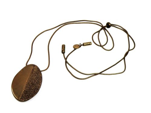Lange Oval Halskette Coffee vergoldet