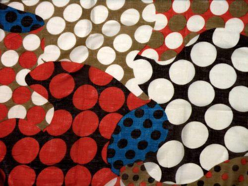 Schal Baumwolle bunt rot braun blau beige mit Dots