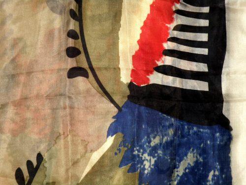 Schal Seide beige rot blau schwarz bunt abstraktes Muster