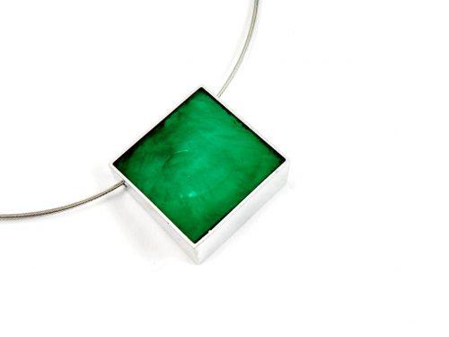 Halskette Laminiertes Perlmutt Lime und Smaragd grün beidseitig tragbar