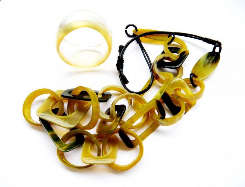 Kombination Kette Horn und Armband Harz gelb