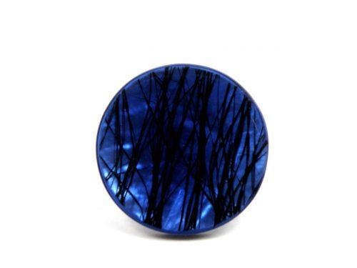 Ring laminiertes Perlmutt blau mit Linien