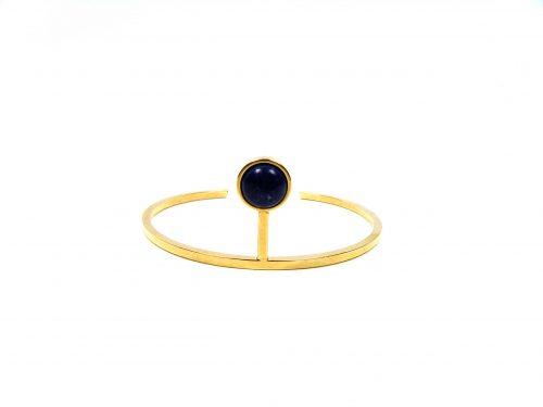 Armband Gold beschichtet mit dunkelblauem Naturstein
