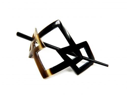 Zweiteilige Haarnadel aus Horn polirt melange