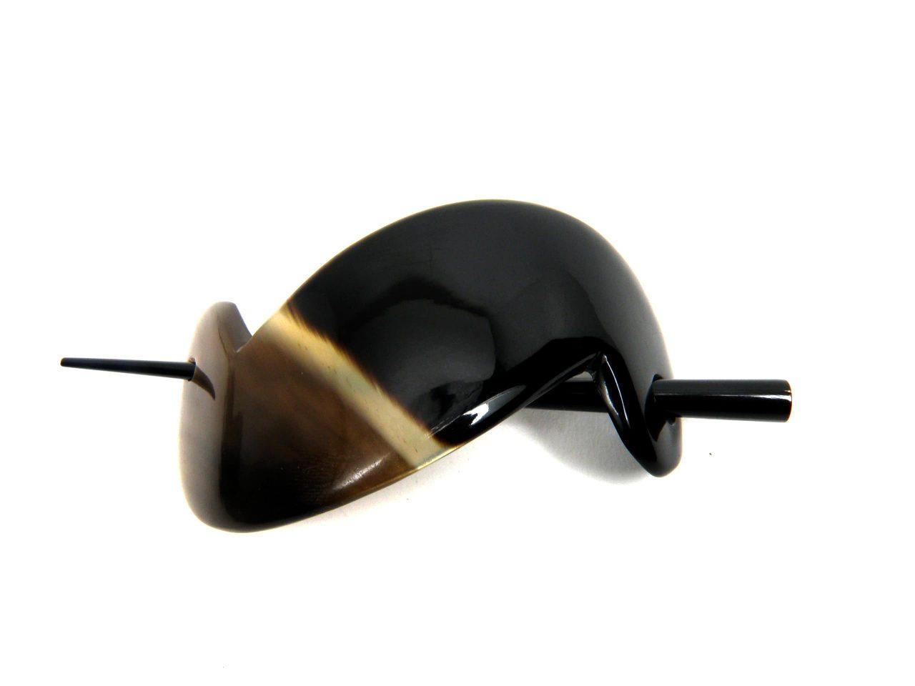 Zweiteilige Haarnadel aus Horn poliert schwarz meliert